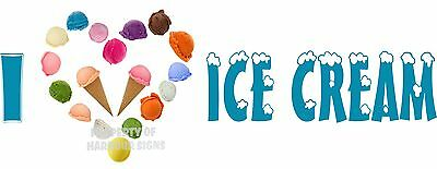 Ice Cream Decal 18 Cones Stand Cart Concession Food Truck Restaurant Vinyl Sign