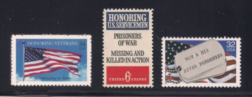 PRISONERS OF WAR / MISSING IN ACTION (POW / MIA) - NEVER FORGOTTEN - 3 STAMP SET