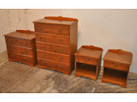 Near new set of wooden bedroom storeage furniture- 2 cests of drawers and bedside tables