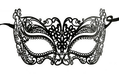 Mask from Venice Chic with Rhinestone Venetian Lace Metal Black 244