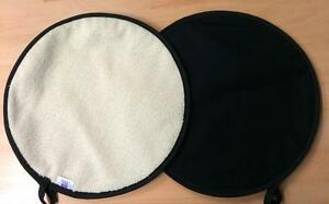 Black Lid Hob Covers Chef Chefs Pads with Cream Towelling Aga PAIR