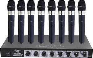 Brand New - PROFESSIONAL QUALITY PYLE VHF 8 MICROPHONE WIRELESS SYSTEM WITH SEPARATE VOLUME CONTROLS
