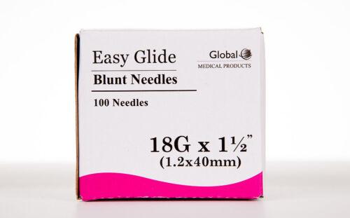 "100 Blunt Dispensing Needles Syringe Blunt Tip Needle 18 Ga 1 1/2"" Luer Lock1.5"""