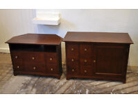 2 piece hardwood living room storage furniture