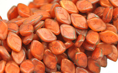 25 Frosted Burnt Orange Picasso Glass Leaf Beads Side Drilled 12MM