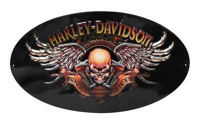 - Harley-Davidson Oval Tin Sign, Biker To The Bone Winged Skull, Black 2010441