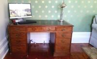 Antique English mahogany desk for sale.