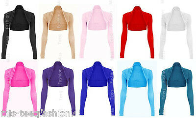New Womens Long Sleeved Bolero Shrug Top Ladies Cardigan Size 8-14