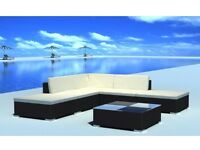 15 piece Black Rattan Seat Set Garden Furniture