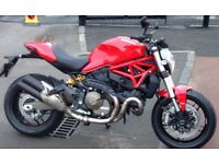 DUCATI MONSTER 821 RED. FSH, very low 2250mls only Mint/showroom condition. Razoma bar end mirrors