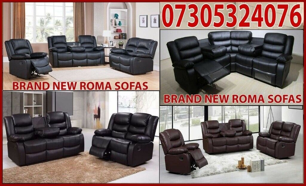 Outstanding Uk Express Delivery Roma 3 2 Seater Leather Recliner Sofa With Drink Holder 3 Years Warrenty In Kingston London Gumtree Machost Co Dining Chair Design Ideas Machostcouk