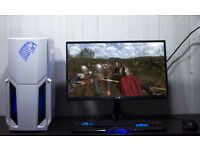 White Stark Gaming PC Fast Performance Intel Quad Core 8GB GTX 770 Blue LED Win10 Custom Backplate
