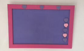 Beautiful Pink/Purple Magnetic Notice board – Ideal for any girl's bedroom or homework area