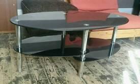 3 Tier Oval Black Glass Coffee Table