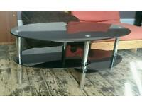 3 Tier Oval Black Glass Coffee Table