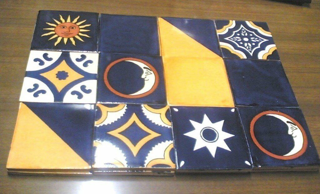 12 LOVELY HANDMADE MEXICAN CERAMIC WALL TILES-MOON MIX-10.5CM X 10.5CM (Approx)