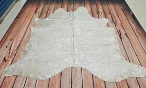 Acid washed cowhide Rug Brazilian Metallic Hair On Cow Hide LIMITED TIME DISCOUNT FREE SHIPPING 80 X 80 Inches 1541