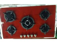 5 Burner Red Built-in Gas on Glass Hob 90cm