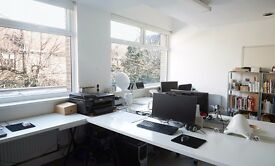 Large desk space available in bright design studio