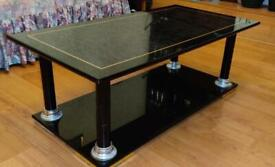 Large high gloss black two tier sturdy coffee table