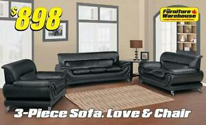 3-Piece Sofa, Loveseat and Chair