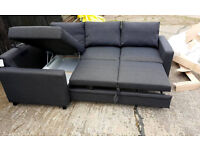 Fabric Left Hand Corner Sofa Bed - Charcoal. --Can Deliver--