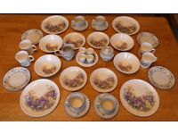Breakfast Melamine Set with Pottery Cups and Saucers - Ideal for Camping / Caravan / Picnics