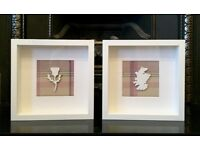 Handmade Tartan Stags Head, Highland Cow, Westie, Map of Scotland & Thistle Box Frame pictures