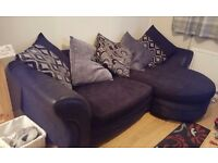 4 seater black and grey dfs sofa