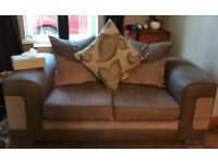 Taupe/cream suedette fabric two 2 seater sofas