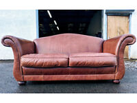 Distressed tobacco leather Laura Ashley 2.5 seater chesterfield style sofa DELIVERY AVAILABLE