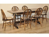 Attractive Large Vintage Ercol Elm Dining Kitchen Table & Six 6 Cartwheel Chairs