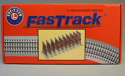 (LIONEL FASTRACK ELEVATED TRESTLE SET train track piers truss graduated 6-12038)