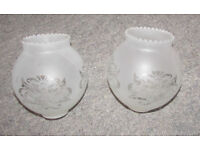 Etched Glass Lampshades x2