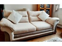 2 x 3 seater soft fabric sofas +matching footstool