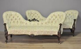 High Quality Pair Of Antique Victorian Carved Rosewood Settees Sofas Couches