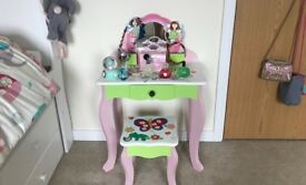 Girl's Wooden Dressing Table with Stool