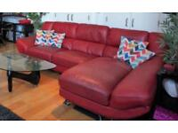 Real leather sofa (red)