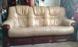 Oak & Leather 3 & 2 seater sofas with footstool.
