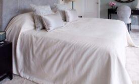 Brand new bespoke super king bedspread in James hare silk.