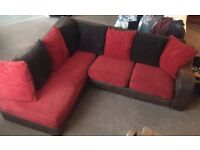 Corner sofa brown and red