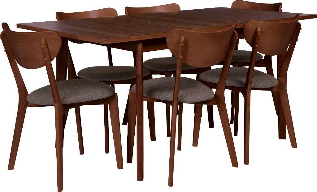 Hygena Merrick Retro Walnut Extending Table U0026 6 Chairs