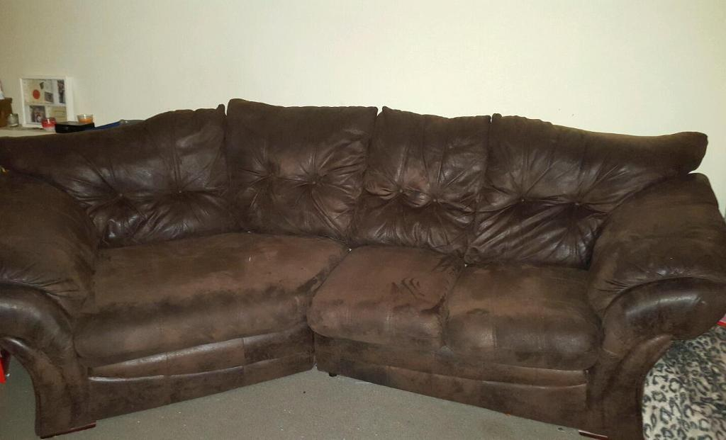 Brown Brushed Leather Sofa Soft Srai2ruc