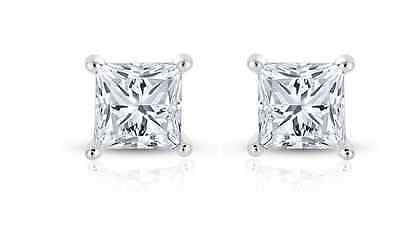 Princess-cut Solitaire Cubic Zirconia CZ Stud Sterling Silver Post Earrings