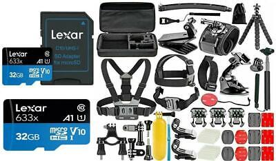 GoPro HERO 7 Black Silver White Deluxe Accessories Kit High Speed 32GB Micro SD Deluxe Camcorder