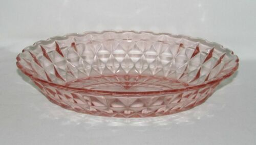 Jeannette Glass Co. WINDSOR DIAMOND Pink Oval Vegetable Bowl