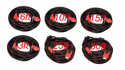 Red Mesh PREMIUM HDMI CABLE Cord For BLURAY 3D DVD PS3 HDTV XBOX LCD HD TV 1080P Consumer Electronics