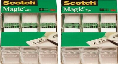Scotch Magic Tape In Dispensers 0.75 X 300 Clear 2 Sets 6 Rolls Total Mmm3105
