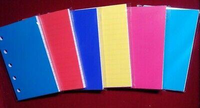 50 White Ruled Refillsplastic Divider For Filofax Mini Organizers With 5 Holes