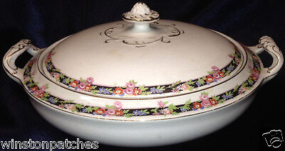 ALFRED MEAKIN THE LERWICK ROUND COVERED VEGETABLE BOWL BLACK BAND WITH FLOWERS ()